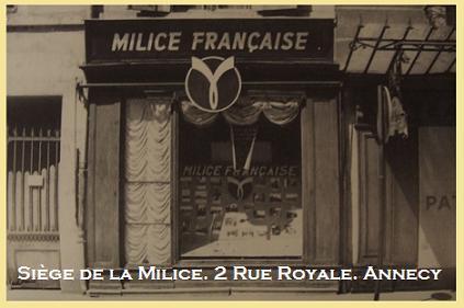 Le Siège de la Milice à Annecy en 1944.