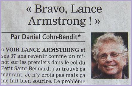 Daniel Cohn-Bendit dans le JDD ( page Sport)