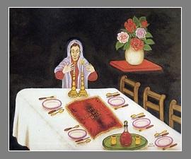 Femme-juive-devant-la-table-du-Chabbat