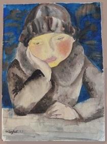 Lachnit, Wilhelm Femme à table, aquarelle 1923